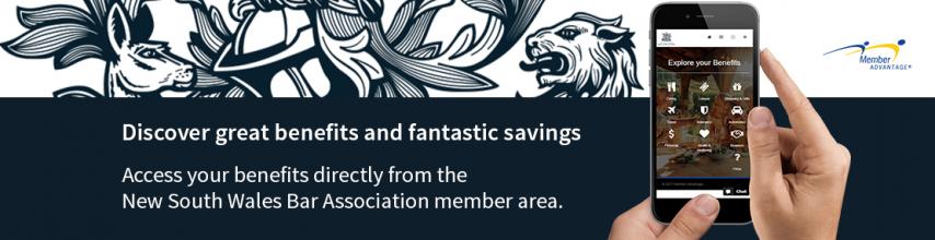 Picture of a of Bar Association logo and text describing Member Advantage benefits